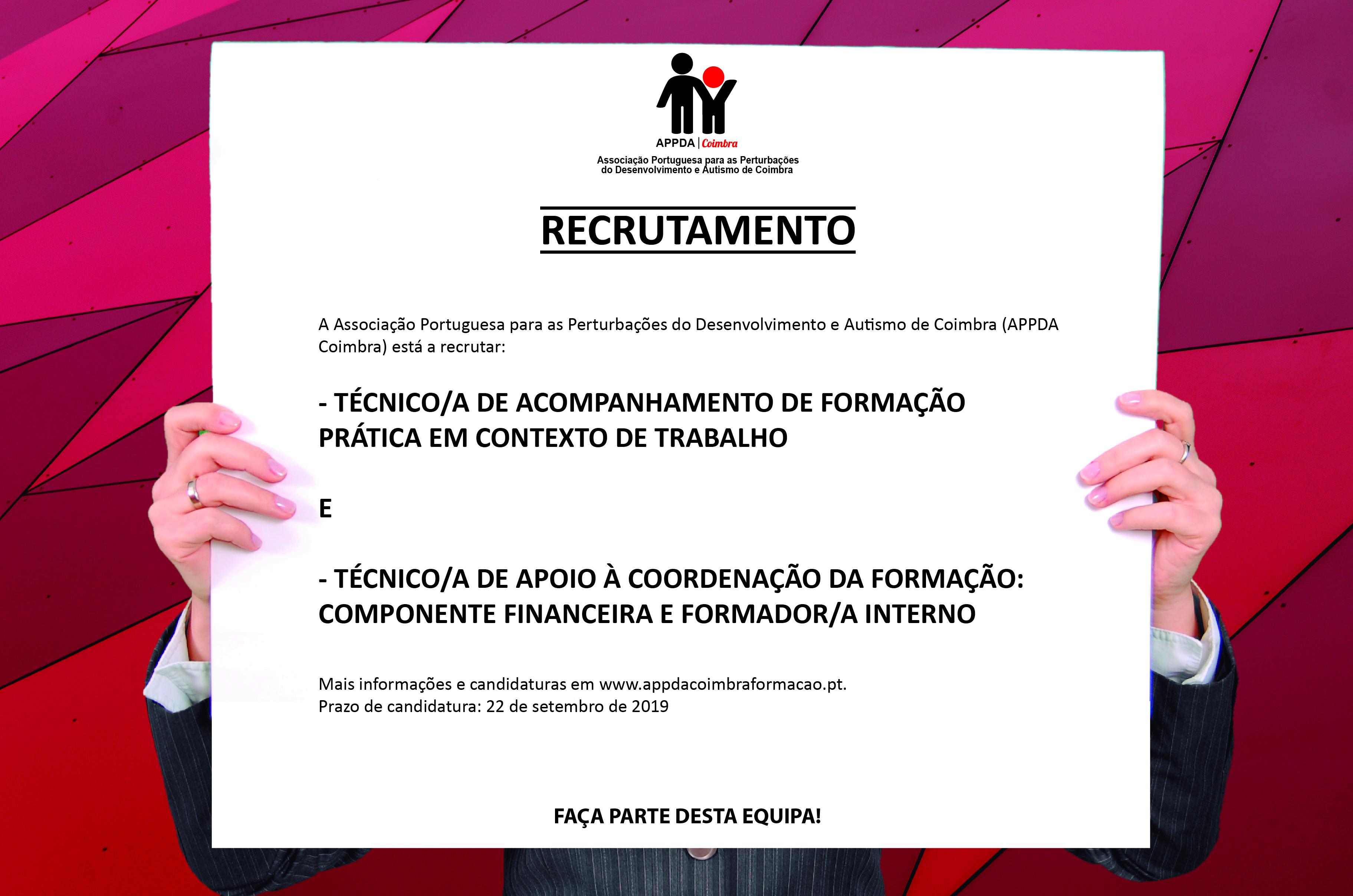 Recrutamento e seleção de prestadores de serviço para o Centro de Formação e Integração Profissional da APPDA Coimbra